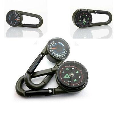 Multifunctional Smart Hiking Metal Carabiner Mini Compass Thermometer Keychain