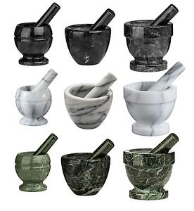 Marble Mortar And Pestle Herbs Spice Manual Crusher