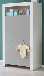 Kleiderschrank weiß lichtgrau 2 türig Kinder Baby Zimmer Schrank ...