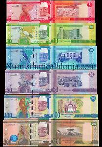 B-D-M Gambia Set 5 10 20 50 100 200 Dalasis 2015 Pick 31-36 SC UNC