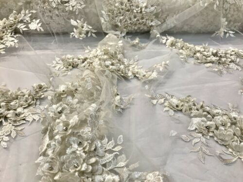 IVORY 3D FLORAL DESIGN EMBROIDERY AND BEADED WITH RHINESTONES ON MESH LACE