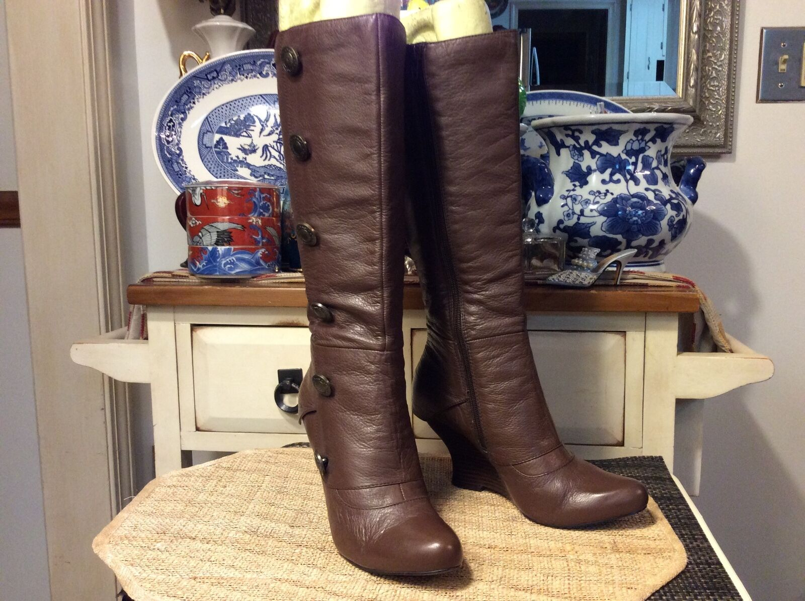 KENZIE 'Hippo' Brown Military inspired inspired inspired tall boots Leather Boots Women's Sz. 8M cfbf3f