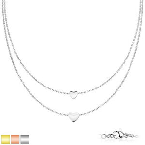 Halskette Damen Edelstahl Silber Panzerkette Kette Silberkette 2Mm Herz SNP-1519