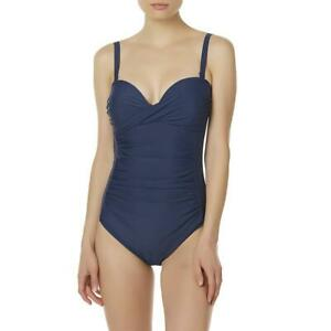 Women-039-s-Tropical-Escape-Rouched-One-Piece-Swimsuit-Royal-Blue-Size-8
