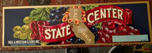 California WHOLESALE 25 STATE CENTER GRAPE CRATE LABELS  VINTAGE 1940s Fresno