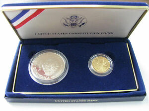 1987-US-Mint-2-Coin-US-Constitution-5-Gold-and-1-Silver-Proof-Set-with-COA