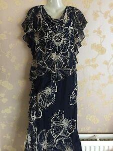 NEW-ladies-cattiva-100-silk-tiered-Navy-pattern-dress-size-10-UK