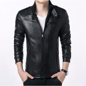 Gordania Stylish Slim Fit Formal Faux Leather Jacket For Men GD282BL