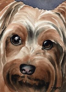 YORKSHIRE-TERRIER-Dog-Painting-8-x-10-ART-Print-Signed-by-Artist-DJR