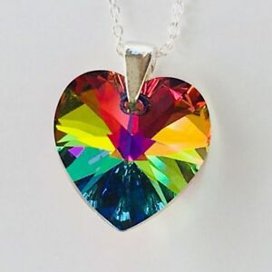 e6656650e3a9 Image is loading Swarovski-Elements-Necklace-Pendent-Crystal-Heart-Vitrail -M-