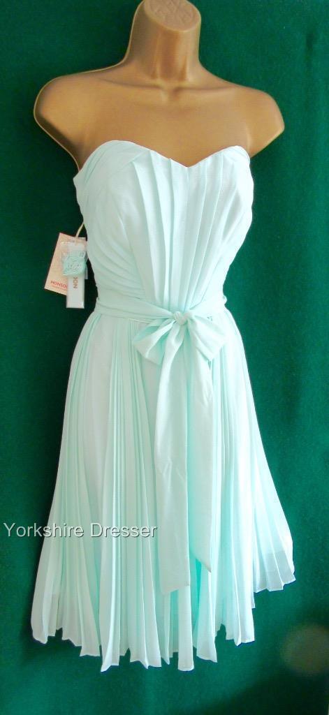 New MONSOON ROWAN Mint Green KneeLength Pleated Bridesmaid Strapless Dress 14 18