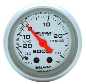 Auto Meter 52mm Mechanical Pro Comp Ultralite Boost Pressure Silver Gauge #4303