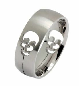 Brushed Stainless Steel cut out Skull Ring Comfort Fit