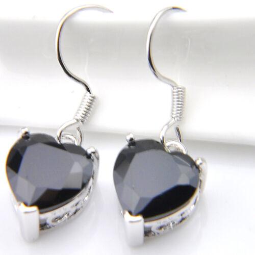 Black Onyx Gemstone Amour en forme de cœur Silver Dangle Earrings
