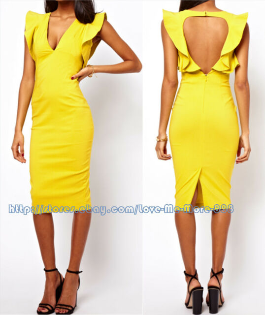 S-2XL nEW Celebrity Club party OPEN BACK Ruffle MIDI calf bodycoN DRESS YELLOW