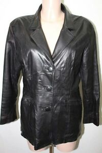 Noir Cuir T42 D' Xl 42 Peau Ane Veste Ebay Femme 8pw1q