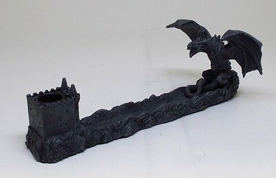 MEDIEVAL DRAGON GUARDING CASTLE INCENSE HOLDER STATUE FIGURINE.HOME DECORATIVE.C