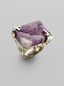 Yves Saint Laurent Ysl Arty Square Ring With Amethyst Semi