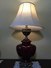 """Vintage Ruby Red Glass Vase w/Brass Table Lamp, 30 1/2"""" Tall (Bottom to Socket)"""