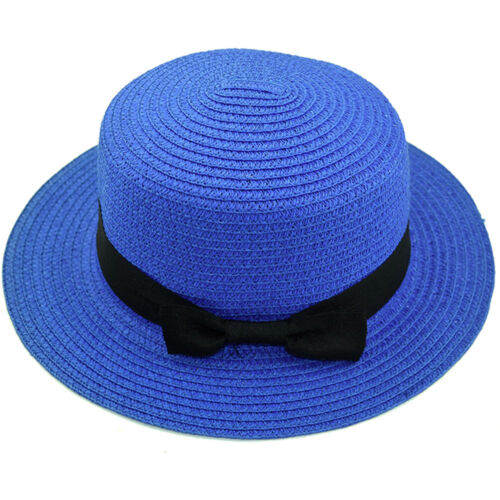 Summer Beach Sun Cap Foldable Bowknot Round Flat Top Brim Straw Hat Women Cap