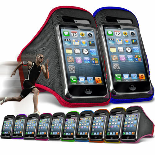Quality Sports Armband Gym Running Phone Case Cover+In Ear Headphones✔BLUE