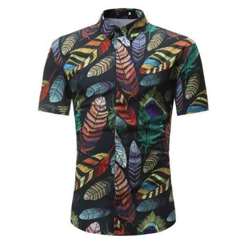Tee-shirt homme Floral Slim Fit Casual élégant Robe Chemise Formel d/'été Tops