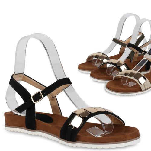 Damen Sandalen Riemchensandalen Ketten Profil Sohle Sommer Schuhe 823156 Trendy