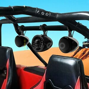 Bluetooth-Waterproof-ATV-UTV-RZR-Polaris-Stereo-3-Speakers-Audio-System-FM-Radio