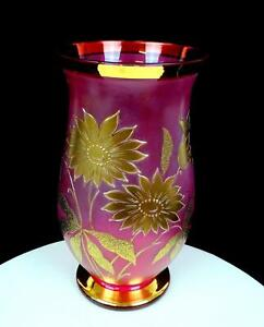 """BOHEMIAN CZECH CRANBERRY SATIN GLASS GOLD FLORAL FOOTED 10"""" VASE"""