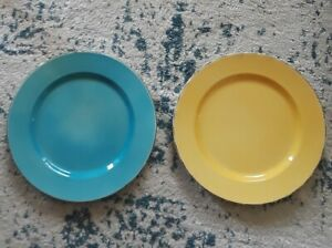 NEW-Set-of-2-Hand-Painted-Ceramiche-Toscane-Dinner-Plates-Blue-Yellow-Italy