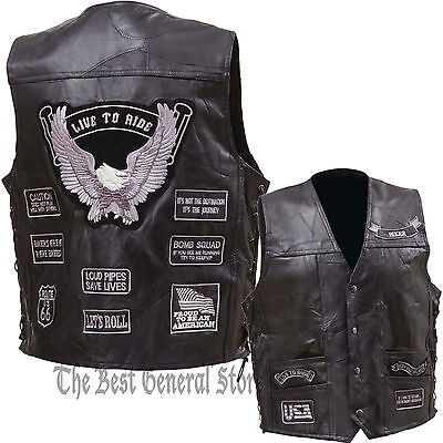 Mens Black Leather Motorcycle Vest Waistcoat with 14 Gray Biker Patches Grey