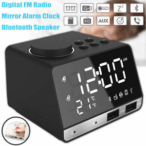LED-Dual-Alarm-Mirror-Clock-Wireless-bluetooth-Bass-Speaker-USB-Port-FM-Radio