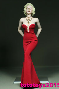 Customed 1:6 Scale Woman Marilyn Monroe red dress for 12