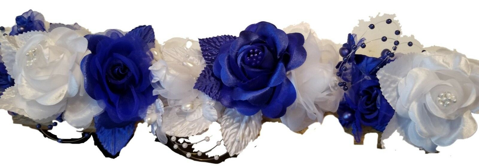 Wedding Silk Flower Band Halo Head Piece 2 colors white & your choice 9