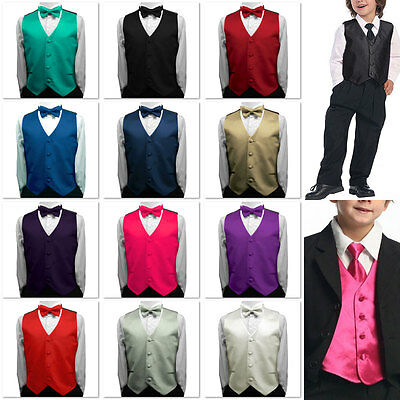 Toddler Kids Boys Children Satin Vest Waistcoat Tuxedo with Optional Bow Tie Set