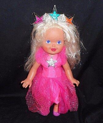 Mud Pie Plush Ballerina Princess Baby Doll Gray Dress Blonde Ponytails and Crown