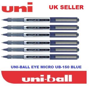 6-x-UNI-BALL-EYE-MICRO-UB-150-ROLLERBALL-PEN-BLUE-COLOUR-Cheapest-on-Ebay