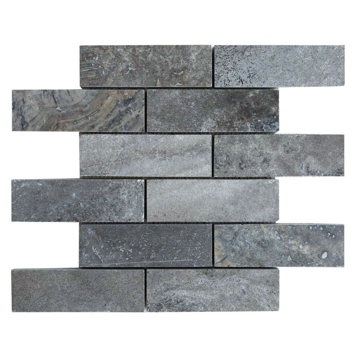 Silver Travertine Mosaic Polished And Filled Sample Order 4 X4 Ebay