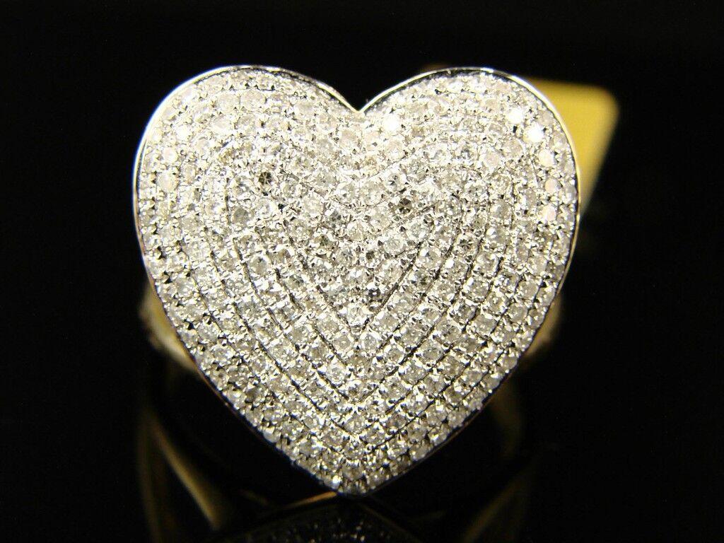 10K Ladies Womens 18 Mm Diamond Engagement Heart Ring