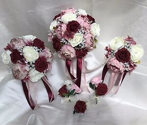 Wedding flowers dusky pinkburgundy peonies crystal bouquet bride image is loading wedding flowers dusky pink burgundy peonies crystal bouquet mightylinksfo