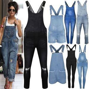 da5616d34db Image is loading Womens-Ladies-Celeb-Denim-Jeans-Full-Length-Pinafore-