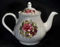 Arthur Wood & Son Staffordshire England Teapot 6424 Roses & Violets w/Gold Trim