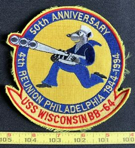 US Military BB-64 USS Wisconsin P50th Anniversary Reunion 1994 NAVY Patch