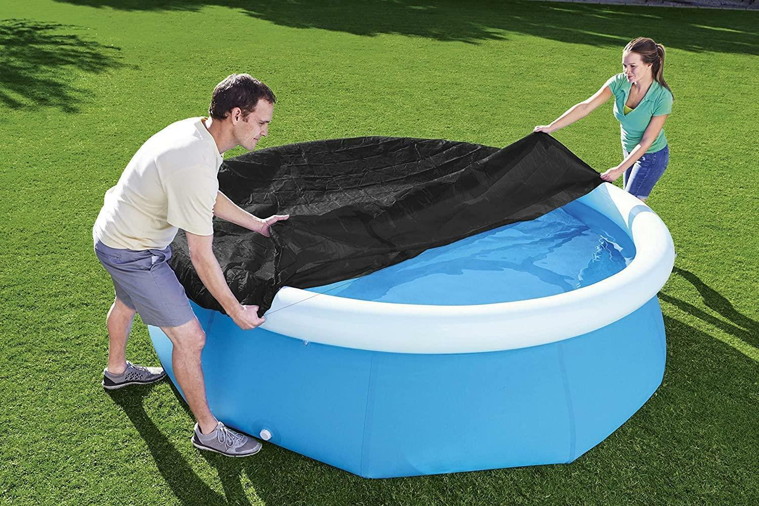 8Ft Round Pool Cover Protective Lid Mat Outdoor Inflatable Circular Oval Pools