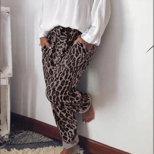 ZANZEA Women Elastic Waist Leopard Print Long Pants Loose Oversize Trousers Plus
