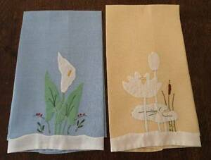 Vintage set blue yellow linen guest hand towels water lilies