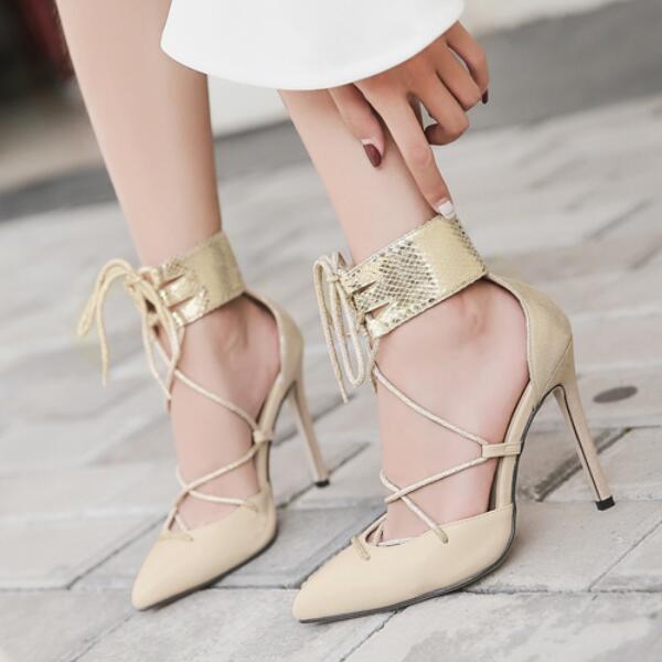 Éscarpins Sandales chaussures Ceinture Fine Élégant Talons Aiguilles 10.5 Cuir