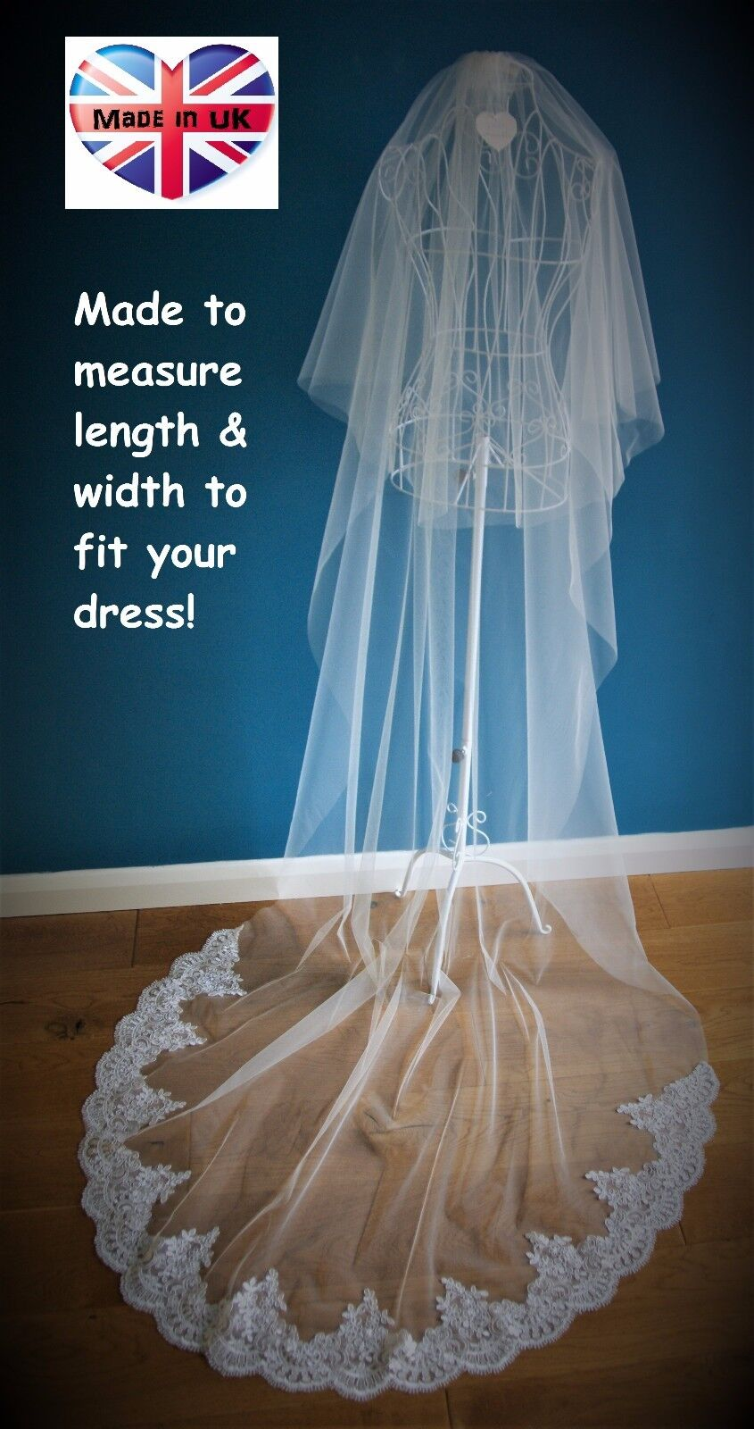 2 Tier Bridal Veil *Cathedral Length*Drop Veil*Wide Corded Lace*Made to measure*