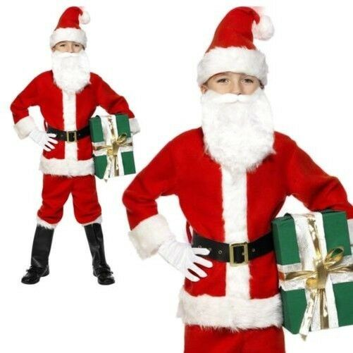 Foto Di Babbo Natale Per Bambini.Smiffys Costume Di Babbo Natale Rosso Con Giacca Pantaloni Cintura J0f