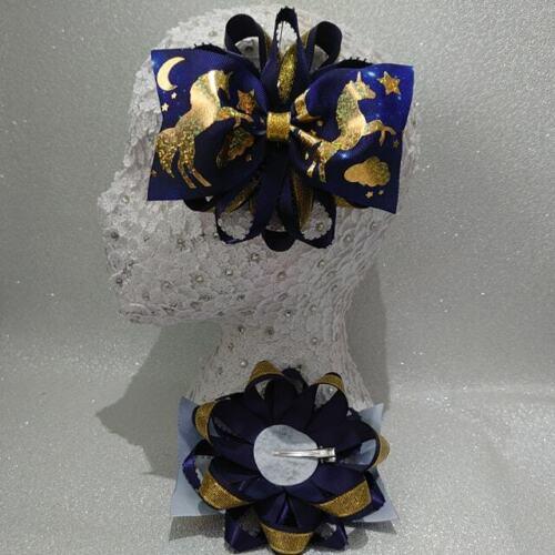 Handmade Navy Blue//Gold Sparkle Unicorn étoiles Lune de Noël grand Romany HAIR BOWS